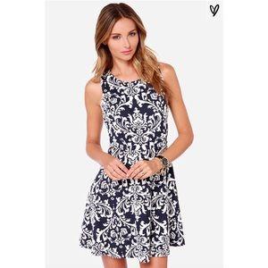 Lulus Sweet On You Navy Jacquard Dress